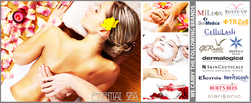 essential spa banner with brands names
